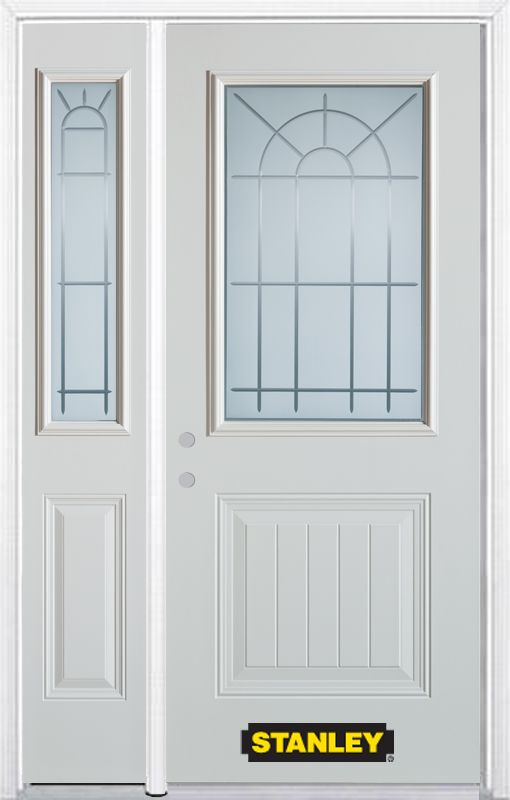 50-inch x 82-inch Chablis 1/2-Lite 1-Panel White Steel Entry Door with Sidelite and Brickmould
