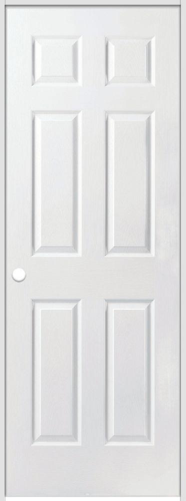 La porte intérieure prémontée 6 panneaux texturés avec rabbeted jamb 24 pouces x 80 pouces ouvert...