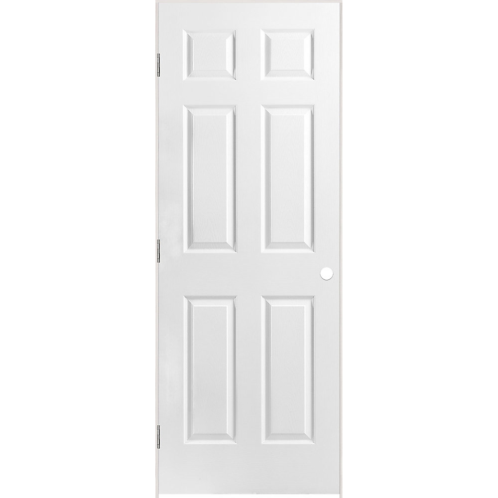 28-inch x 80-inch Lefthand Primed 6-Panel Textured Prehung Interior Door with Rabbeted Jamb
