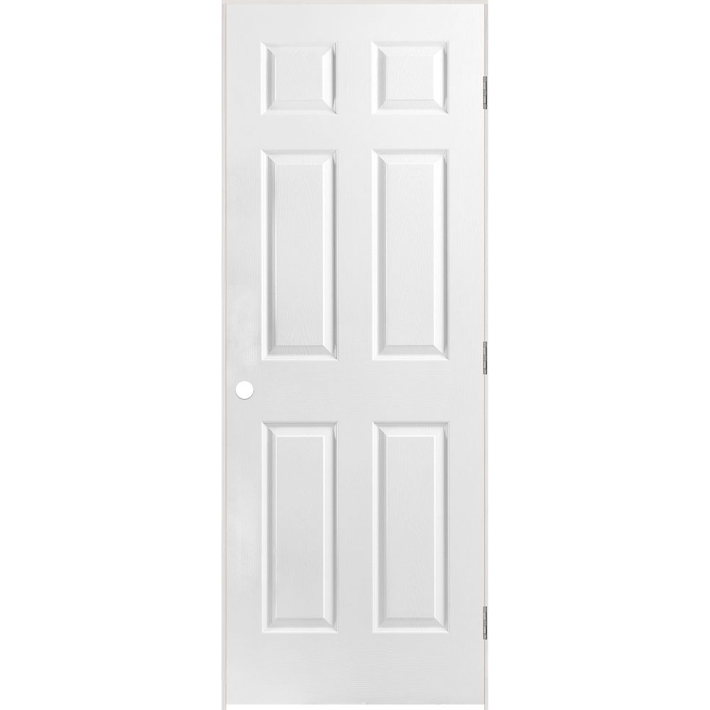 28-inch x 80-inch Righthand Primed 6-Panel Textured Prehung Interior Door with Rabbeted Jamb