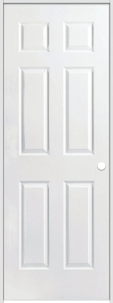 30-inch x 80-inch Lefthand Primed 6-Panel Textured Prehung Interior Door with Rabbeted Jamb
