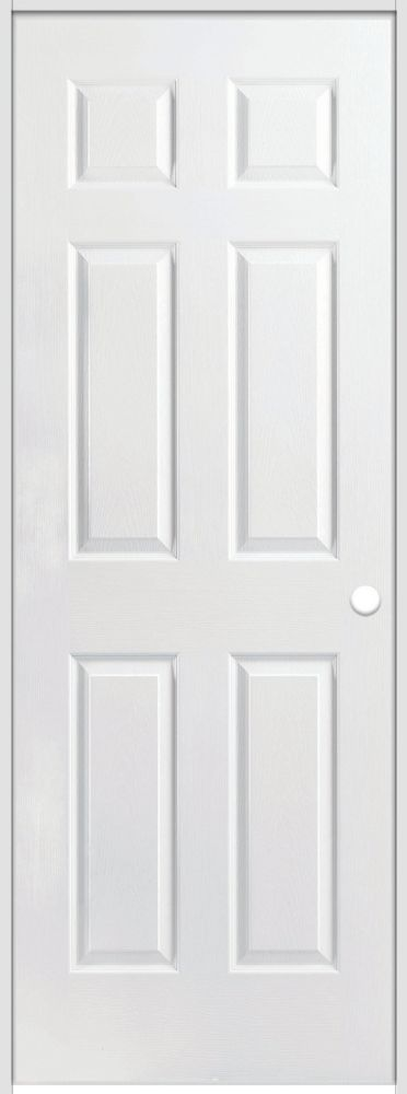 32-inch x 80-inch Lefthand Primed 6-Panel Textured Prehung Interior Door with Rabbeted Jamb