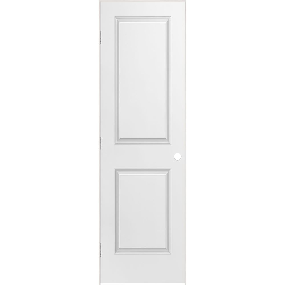 24-inch x 80-inch Lefthand Primed 2-Panel Smooth Prehung Interior Door with Rabbeted Jamb