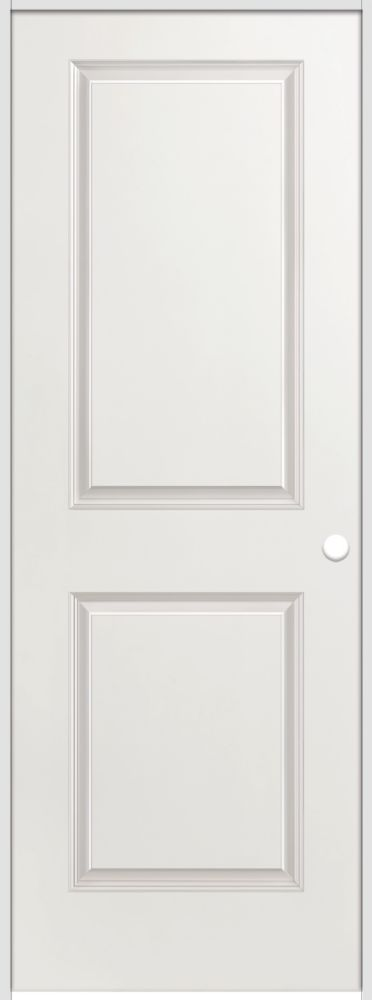 28-inch x 80-inch Lefthand Primed 2-Panel Smooth Prehung Interior Door with Rabbeted Jamb