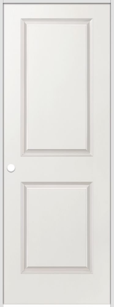 28-inch x 80-inch Righthand Primed 2-Panel Smooth Prehung Interior Door with Rabbeted Jamb