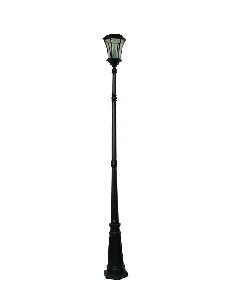 Lampadaire solaire victorien noir, à ampoule unique