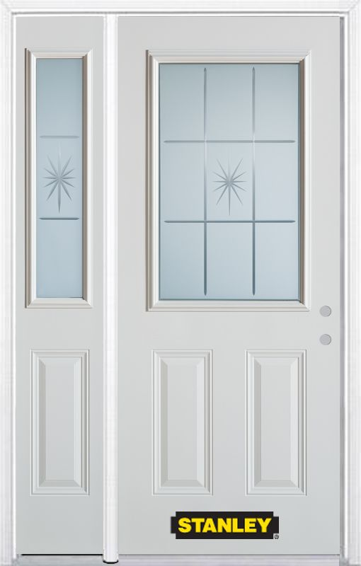 50-inch x 82-inch Beaujolais 1/2-Lite 2-Panel White Steel Entry Door with Sidelite and Brickmould