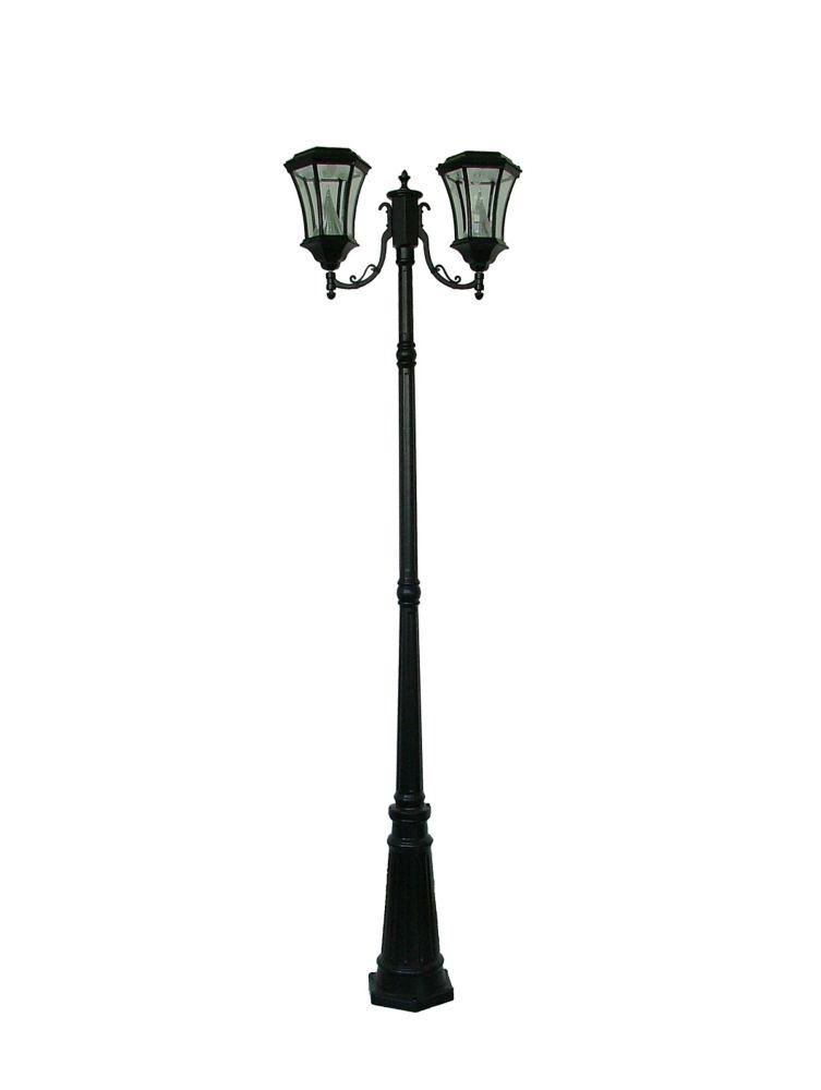 Lampadaire solaire victorien noir, à ampoules doubles