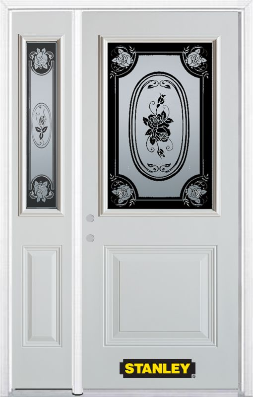 50-inch x 82-inch Mâtisse 1/2-Lite 1-Panel White Steel Entry Door with Sidelite and Brickmould