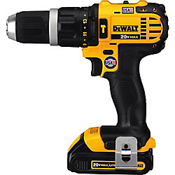 DEWALT 20V MAX Li-Ion Cordless Compact Hammer Drill/Driver Kit w/ (2) Batteries 1.5Ah, Charger and Contractor Bag