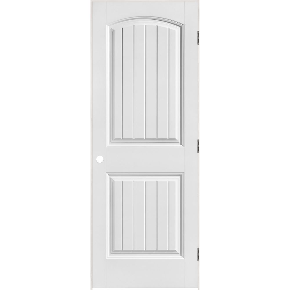 36-inch x 80-inch Righthand Primed 2-Panel Plank Smooth Prehung Interior Door with Rabbeted Jamb