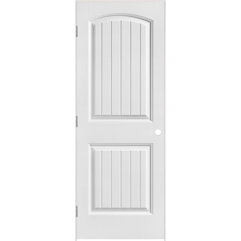 36-inch x 80-inch Lefthand Primed 2-Panel Plank Smooth Prehung Interior Door