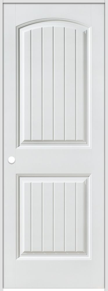Primed 2-Panel Plank Smooth Prehung Interior Door 36 In. x 80 In. Right Hand