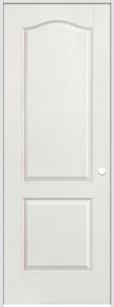 36-inch x 80-inch Lefthand Primed 2-Panel Arch Top Textured Prehung Interior Door