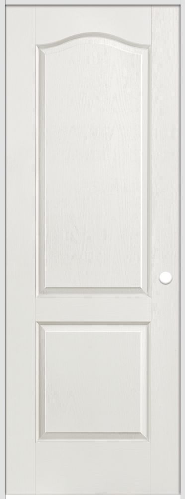 36-inch x 80-inch Lefthand Primed 2-Panel Arch Top Textured Prehung Interior Door