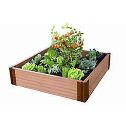 Frame It All Tool-Free Classic Sienna Raised Garden Bed 4 ft. x 4 ft. x 11 inch  2 inch profile