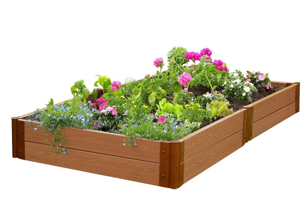 Frame It All Classic Sienna Raised Garden Bed 4 ft. x 8 ft. x 11 inch 2 inch profile