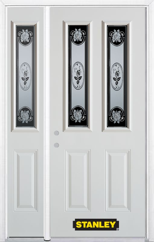 48-inch x 82-inch Mâtisse 2-Lite 2-Panel White Steel Entry Door with Sidelite and Brickmould