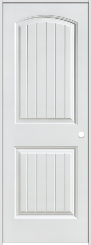 28-inch x 80-inch Lefthand Primed 2-Panel Plank Smooth Prehung Interior Door with Rabbeted Jamb