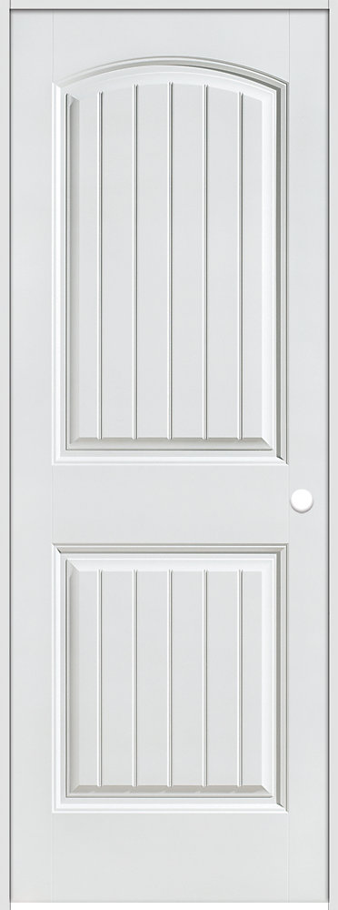 36-inch x 80-inch Lefthand Primed 2-Panel Plank Smooth Prehung Interior Door with Rabbeted Jamb