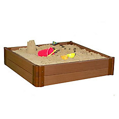 Tool-Free Classic Sienna 4ft. x 4ft. x 11 inch Composite Square Sandbox Kit - 2 inch profile