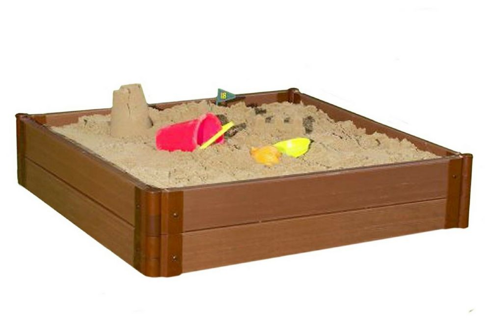 Frame It All Tool-Free Classic Sienna 4ft. x 4ft. x 11 inch Composite Square Sandbox Kit - 2 inch profile