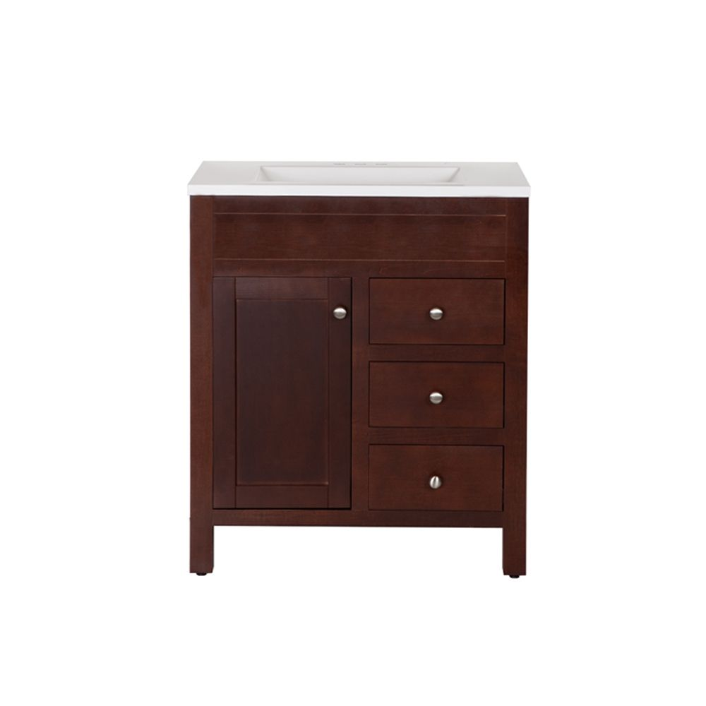 st paul wyoming 30 inch w 3 drawer 1 door freestanding vanity in brown with ceramic top in. Black Bedroom Furniture Sets. Home Design Ideas
