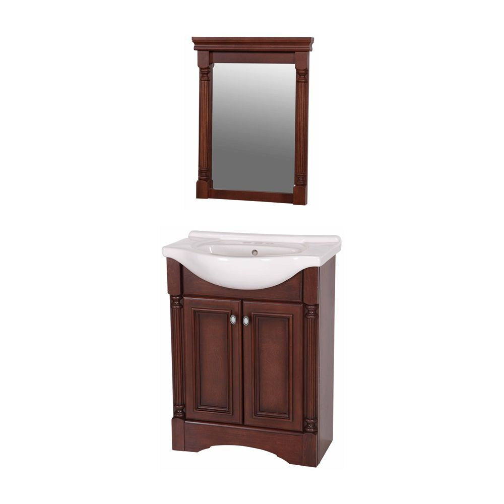 st paul meuble lavabo valencia 63 50 cm 25 po avec dessus en porcelaine et miroir noisette. Black Bedroom Furniture Sets. Home Design Ideas