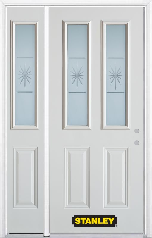 50-inch x 82-inch Beaujolais 2-Lite 2-Panel White Steel Entry Door with Sidelite and Brickmould