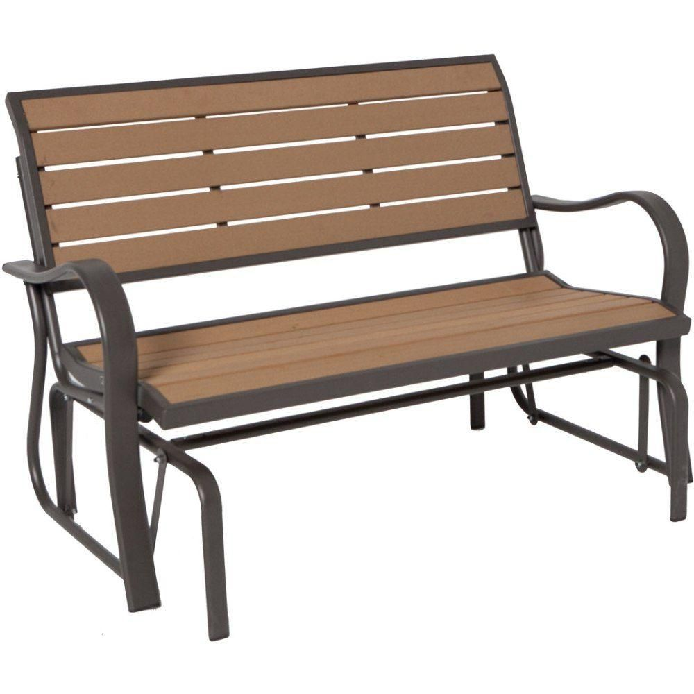 Lifetime wood alternative outdoor glider bench the home depot canada Home depot benches