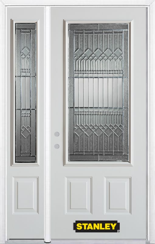 48-inch x 82-inch Lanza 3/4-Lite 2-Panel White Steel Entry Door with Sidelite and Brickmould