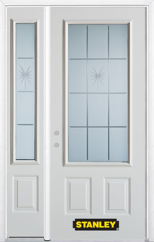 52-inch x 82-inch Beaujolais 3/4-Lite 2-Panel White Steel Entry Door with Sidelite and Brickmould
