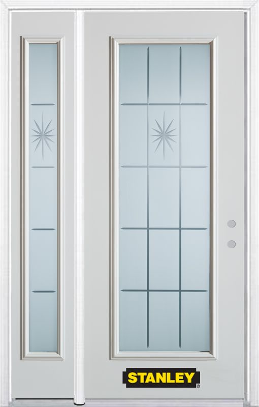 50-inch x 82-inch Beaujolais Full Lite White Steel Entry Door with Sidelite and Brickmould