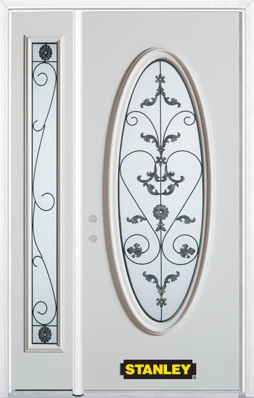 Porte dentrée en acier préfini en blanc, munie dun verre ovale, 53 po x 82 po avec panneaux latér...
