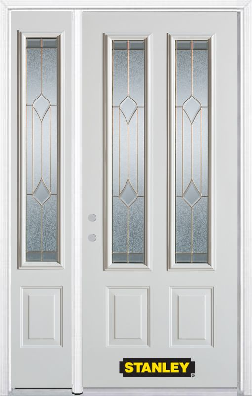 50-inch x 82-inch Beatrice 2-Lite 2-Panel White Steel Entry Door with Sidelite and Brickmould