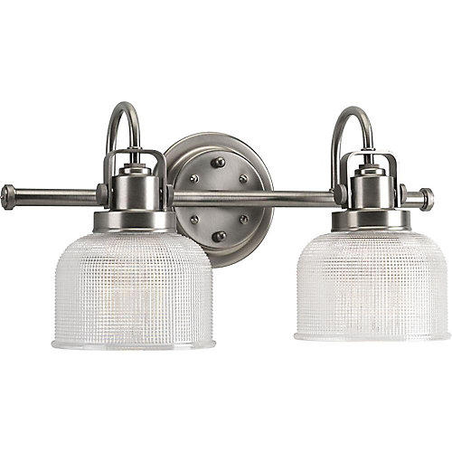 Archie Collection 2-Light Vanity Fixture in Antique Nickel with Prismatic Glass Shades