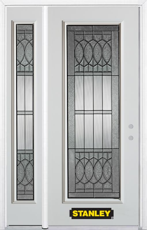 48-inch x 82-inch Nightingale Full Lite White Steel Entry Door with Sidelite and Brickmould