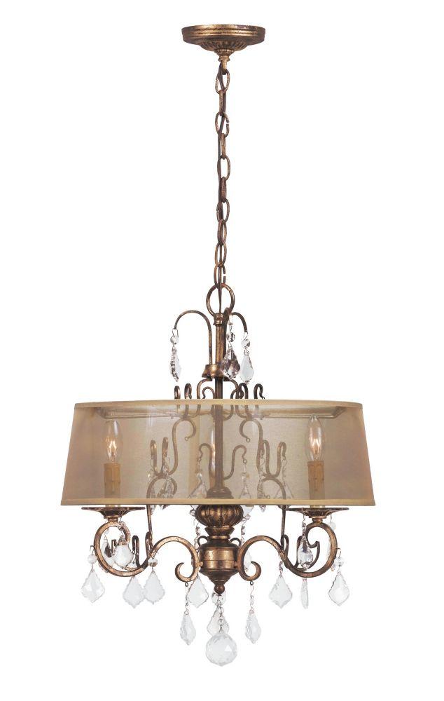 Lustre à trois lampes au fini or patiné de la Collection Bella Marie, 120 po