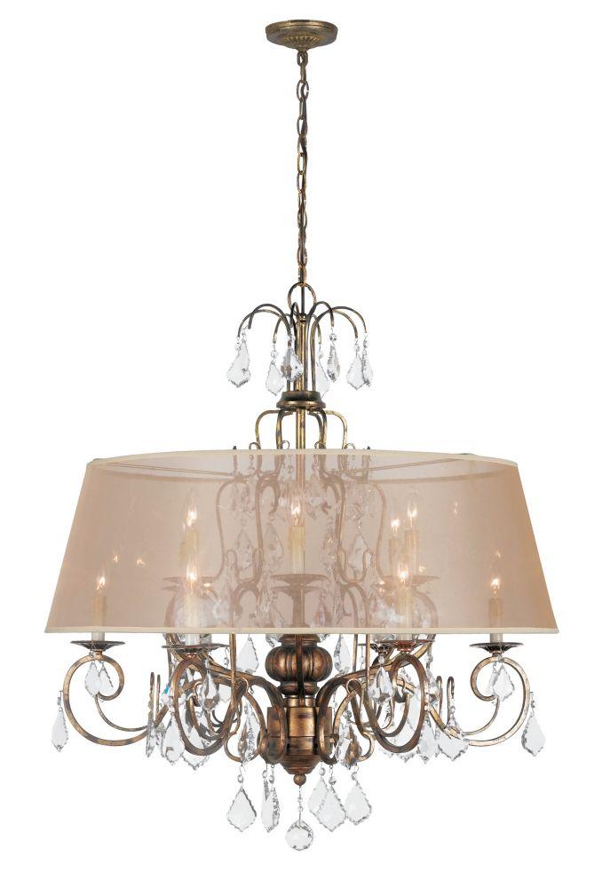 Lustre à douze lampes au fini or patiné avec abat-jour ivoire de la Collection Bella Marie, 120 p...