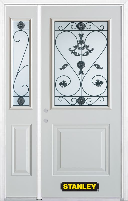 50-inch x 82-inch Blacksmith 1/2-Lite 1-Panel White Steel Entry Door with Sidelite and Brickmould