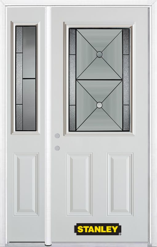 52-inch x 82-inch Bellochio 1/2-Lite 2-Panel White Steel Entry Door with Sidelite and Brickmould