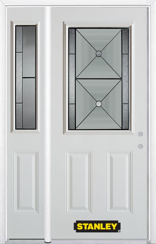 48 In. x 82 In. 1/2 Lite 2-Panel Pre-Finished White Steel Entry Door with Sidelites and Brickmould 1540S-1SSL-32-L in Canada