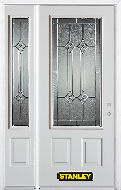 4825 Inch X 82375 Inch Orleans Patina 34 Lite 2 Panel Prefinished White Left Hand Inswing Steel Prehung Front Door With Sidelite And Brickmould