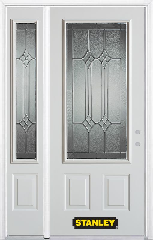 52-inch x 82-inch Orleans 3/4-Lite 2-Panel White Steel Entry Door with Sidelite and Brickmould