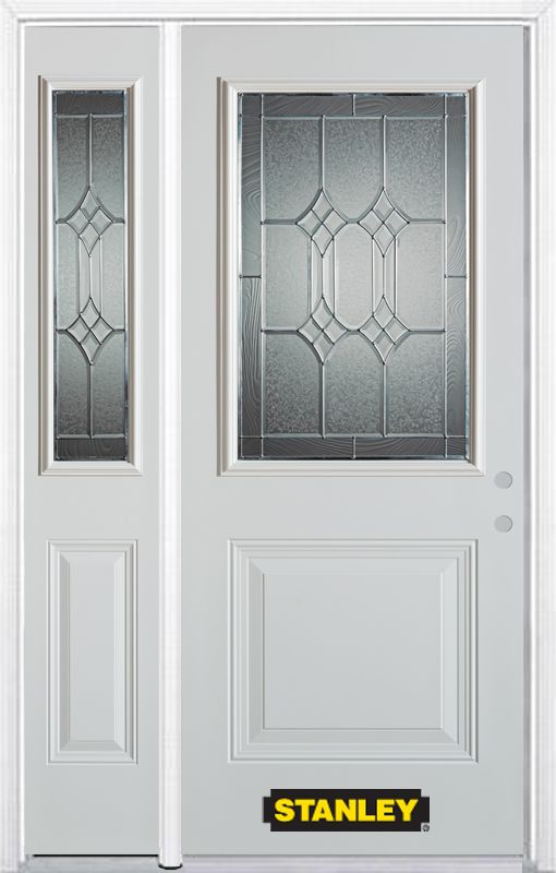 Porte dentrée en acier préfini en blanc, munie de deux panneaux et dun 1/2 verre, 53 po x 82 po a...