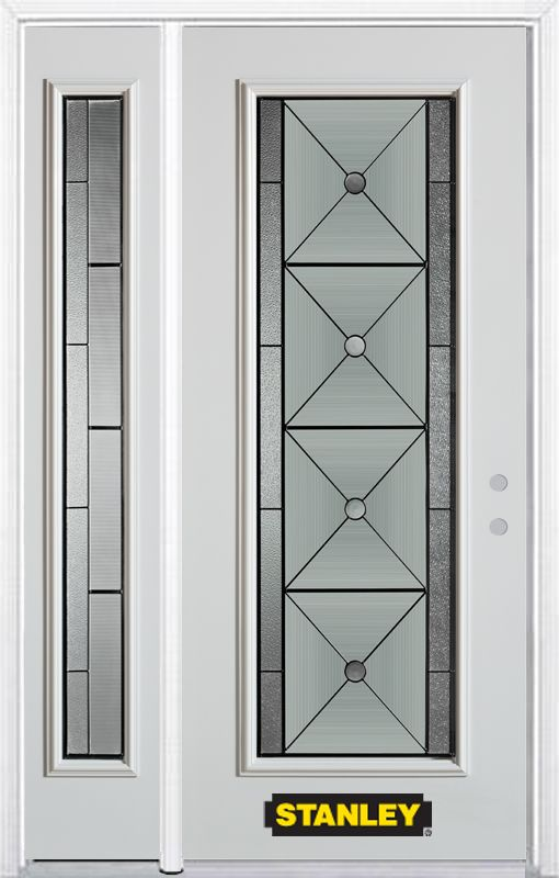 48-inch x 82-inch Bellochio Full Lite White Steel Entry Door with Sidelite and Brickmould
