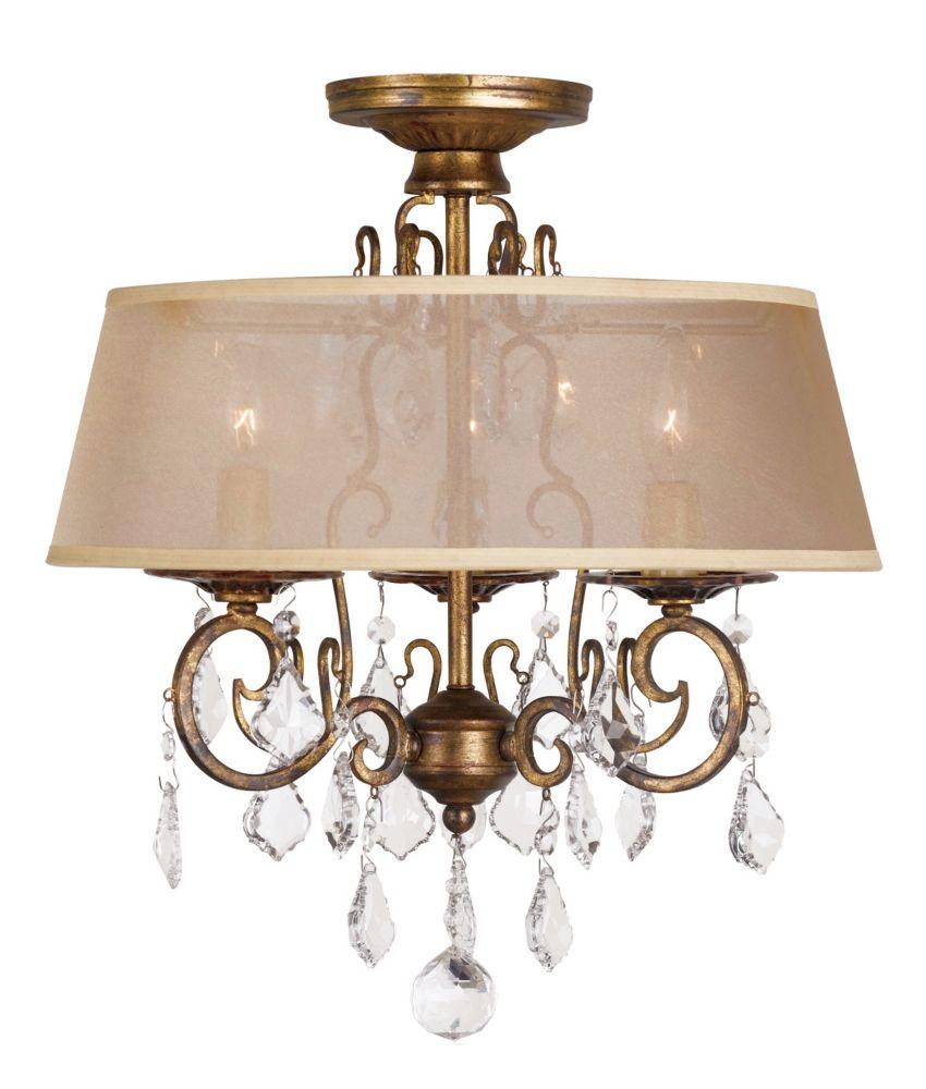 Antique Gold 15 In. 3-Light Flush mount Chandelier