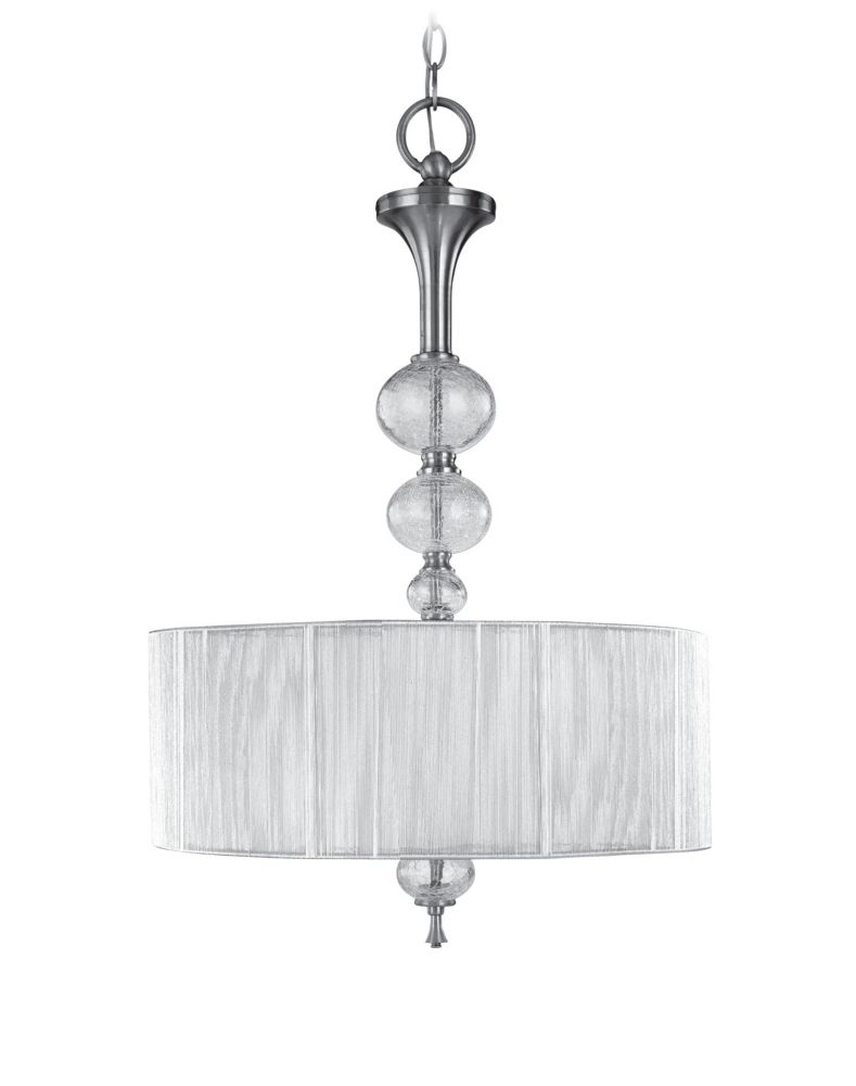 Bayonne Collection 3-Light 120 in. Hanging Brushed Nickel Inverted Pendant