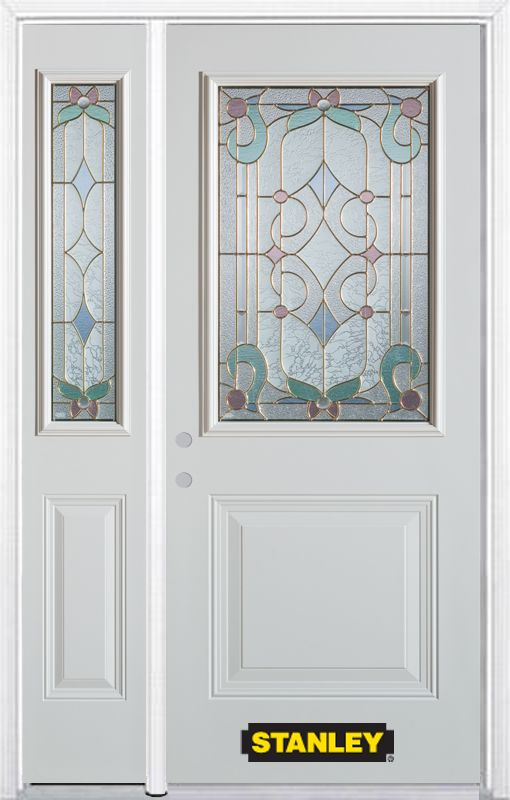 Stanley Doors 52.75 inch x 82.375 inch Aristocrat Brass 1/2 Lite 1-Panel Prefinished White Right-Hand Inswing Steel Prehung Front Door with Sidelite and Brickmould - ENERGY STAR®