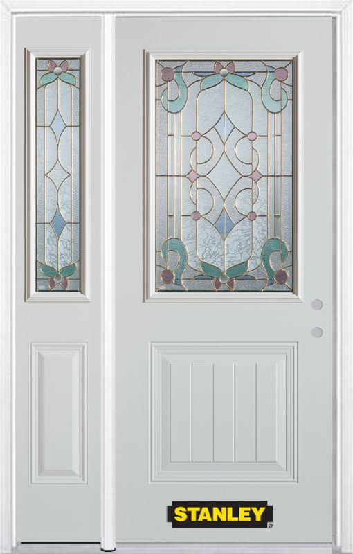 Stanley Doors 50.25 inch x 82.375 inch Aristocrat Brass 1/2 Lite 1-Panel Prefinished White Left-Hand Inswing Steel Prehung Front Door with Sidelite and Brickmould
